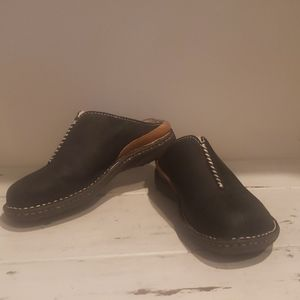 Ugg black leather shearling mules